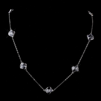 "Stunning Silver Clear Faceted Clover 24"" inch Long Crystal Necklace 8646"
