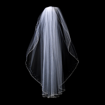 "Veil 139 1F White - Single Layer Fingertip w/Crystals (36"" Long)"