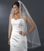 """Veil 201 1F White- Single Fingertip Layer Veil w/ Crystals & Silver Vine Embroidery (36""""long)"""