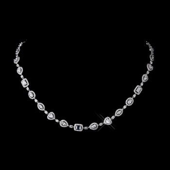 Antique Silver Clear CZ Crystal Necklace N 8650