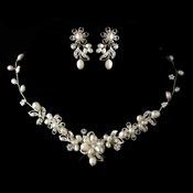 Silver Freshwater Pearl & Rhinestone Necklace & Earrings Jewelry Set 9305