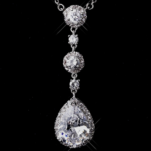 Fabulous Silver Clear CZ Necklace 8623