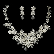 Silver Clear Crystal Necklace & Earrings Jewelry Set 9690