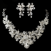 Antique Silver Clear Swarovski Crystal & Rhinestone Necklace & Earrings Jewelry Set 9695