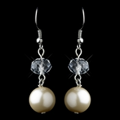 Silver Ivory Pearl & Crystal Ball Drop Hook Earrings 9265