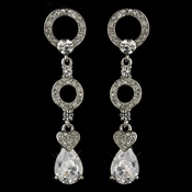Antique Silver Clear CZ Crystal & Rhinestone Earrings 8999
