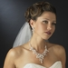 Silver Ivory Pearl & Rhinestone Floral Necklace & Earrings Bridal Jewelry Set 7186***Discontinued***