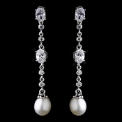 Antique Silver Ivory Freshwater Pearl Earrings 8970