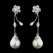 Rhodium Silver Diamond White Pearl & Clear CZ Crystal Earrings 4015