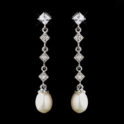 Antique Silver Ivory Freshwater Pearl Bridal Earrings 8920