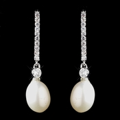 Antique Silver Ivory Freshwater Pearl Earrings 8908 * Discontinued