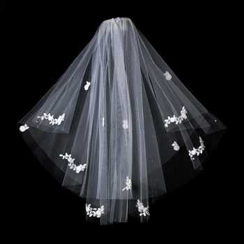Double Layer Elbow Length Veil in White with Flower Embroidery & Pearls 503