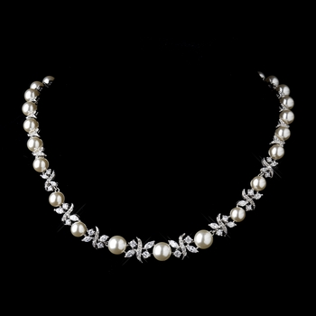 Silver Ivory Pearl and CZ Crystal Necklace 8765 *Discontinued *