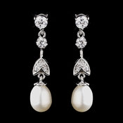 Antique Silver Ivory Freshwater Pearl Earrings 8921
