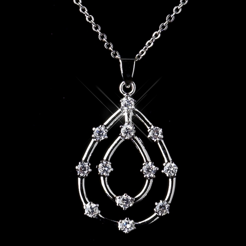 Silver Clear Cubic Zirconia  Necklace N 8787