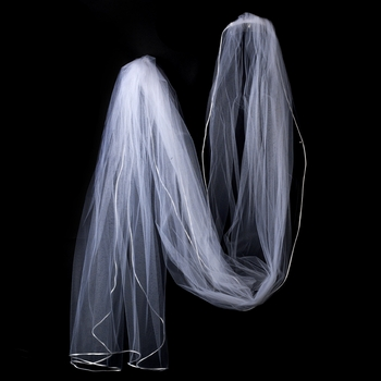 "VR 1C White - Rattail Satin Corded Edge Veil, 1 Layer Cathedral Length Veil (108"" long)"