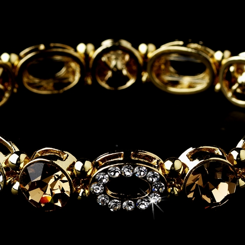Beautiful Gold Stretch Bracelet with Light Brown Crystals 10416