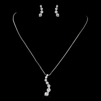 Silver Clear CZ Crystal Journey Necklace & Earrings Bridal Jewelry Set 71788