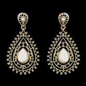 Gold White Stone Earrings 8822