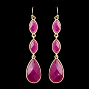 Gold Fuchsia Dangle Earrings 8840