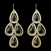 Gold Black Crystal Fashion Dangle Earrings 8839