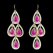 Gold Fuchsia Crystal Fashion Dangle Earrings 8839