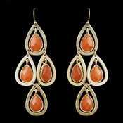 Gold Orange Crystal Fashion Dangle Earrings 8839