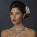 Antique Silver White Pearl Flower Necklace & Earrings Bridal Jewelry Set 8733