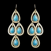 Gold Turquoise Crystal Fashion Dangle Earrings 8839