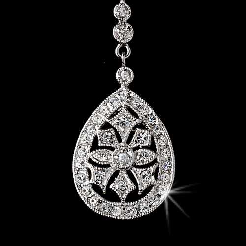 Antique Silver Clear CZ Crystal Necklace 6500