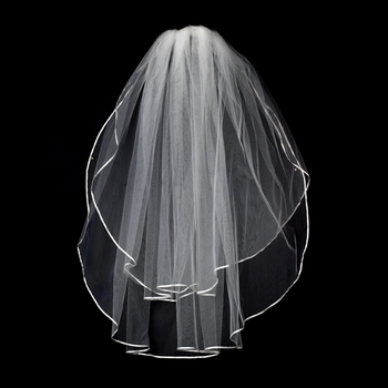 "VS E White - 1/8"" Satin Ribbon Edge Veil, 2 Layers Elbow Length Veil (25"" x 30"")"