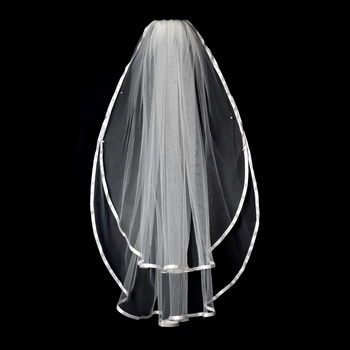 "VS F White - 3/8"" Satin Ribbon Edge Veil, 2 Layers Elbow Length Veil (30"" x 36"")"