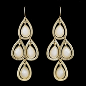 Gold White Crystal Fashion Dangle Earrings 8839