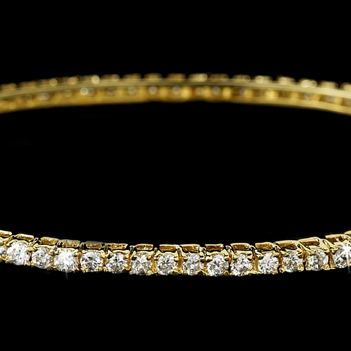 Dazzling Gold Clear Cubic Zirconia Bangle Bracelet 3532