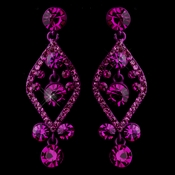 Fuchsia Crystal Post Dangle Earrings 8705