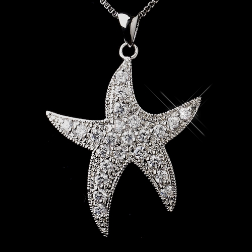 Antique Silver Clear Cubic Zirconia Starfish Necklace N 5008