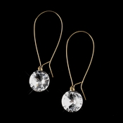 Gold Clear Dangle Bridal Earrings 8400