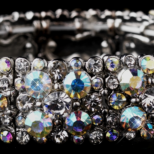 Sparkling Antique Silver Stretch Bracelet w/ Clear & Aurora Borealis Crystals 8703