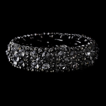Sparkling Hematite Stretch Bracelet w/ Charcoal Grey Crystals 8703