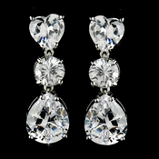 Gorgeous Silver Clear CZ Heart & Teardrop Earrings 7521