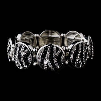 Stylish Antique Silver Zebra Pattern Rhinestone Stretch Bracelet 8708