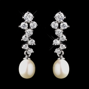 Antique Silver Ivory Bridal Earrings 5501