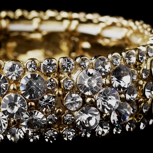 Sparkling Gold Clear Crystal Stretch Bracelet 8703
