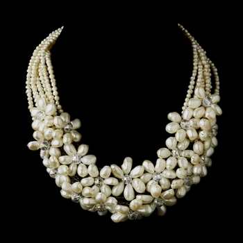 Silver Ivory Freshwater Floral Pearl & Crystal Necklace 8774 **Discontinued**