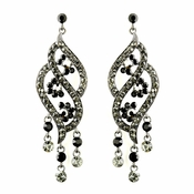 Silver Smoked & Black Rhinestone Dangle Earrings 8657