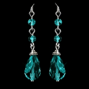 Silver Teal Crystal Tear Drop Dangle Earrings 8737