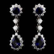 Princess Kate Middleton Inspired Silver Clear & Sapphire CZ Drop Earrings 5560