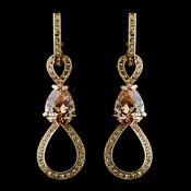 Captivating Gold Topaz CZ & Swarovski Crystal Earrings 8591