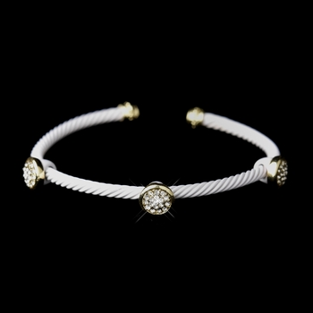 Gold White Cuff Fashion Bracelet 8806