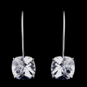 Lovely Silver Clear Cushion Cut CZ Earrings 8717